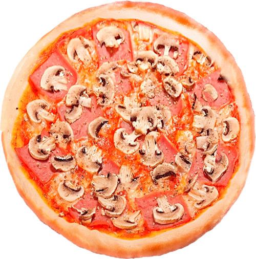 Пицца грибы ветчина